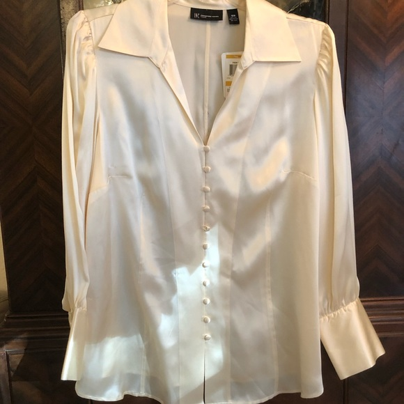 34015ef8a96f3e INC International Concepts Tops | Ind Womens Ivory Satin Blouse ...